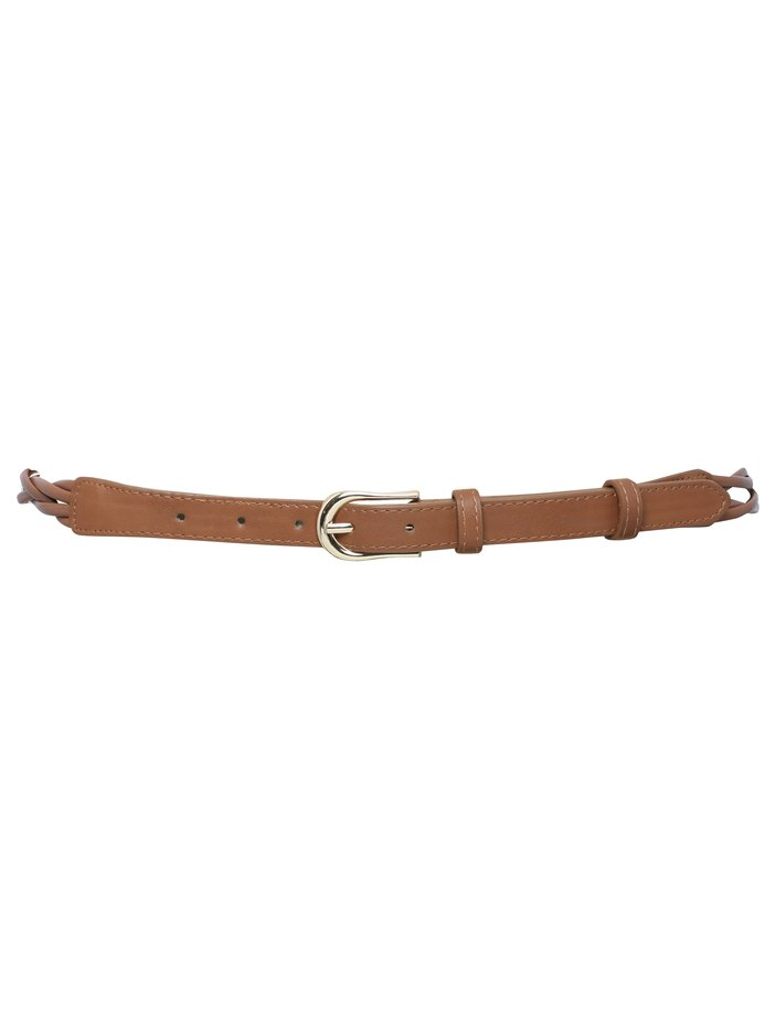 Ladies classic twisted plait belt with gold coloured buckle and bead trim Tan L