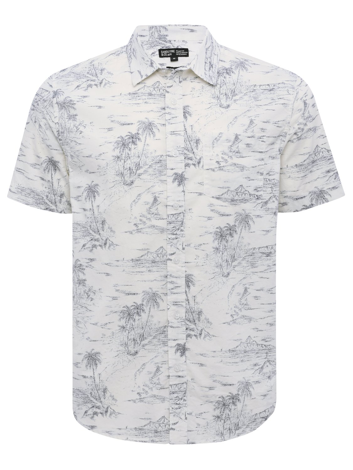 Mens cotton short sleeve palm tree print casual button up collar shirt   Blue