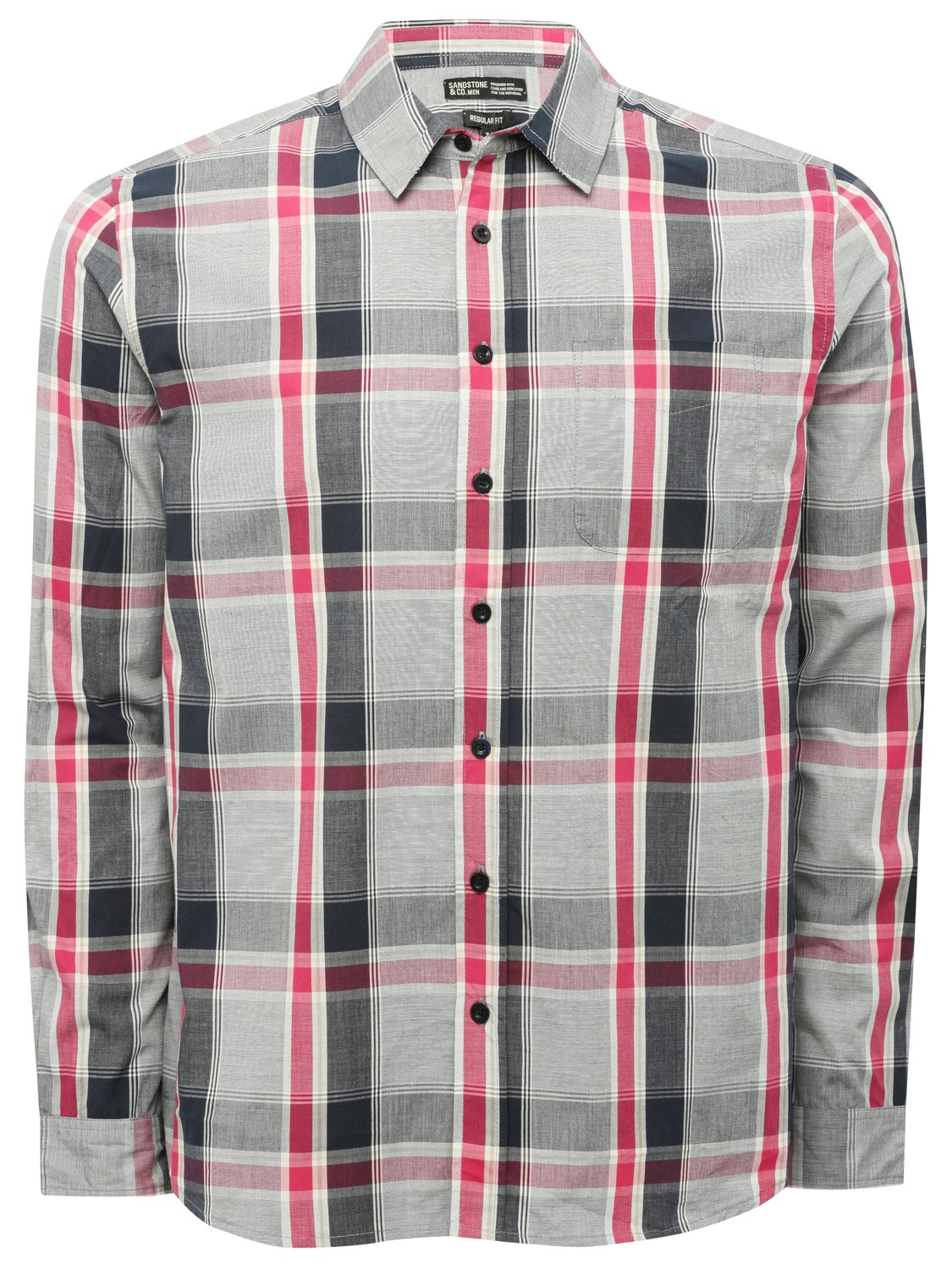 Image of Mens long sleeve check pattern cotton button up collar smart casual shirt - Grey