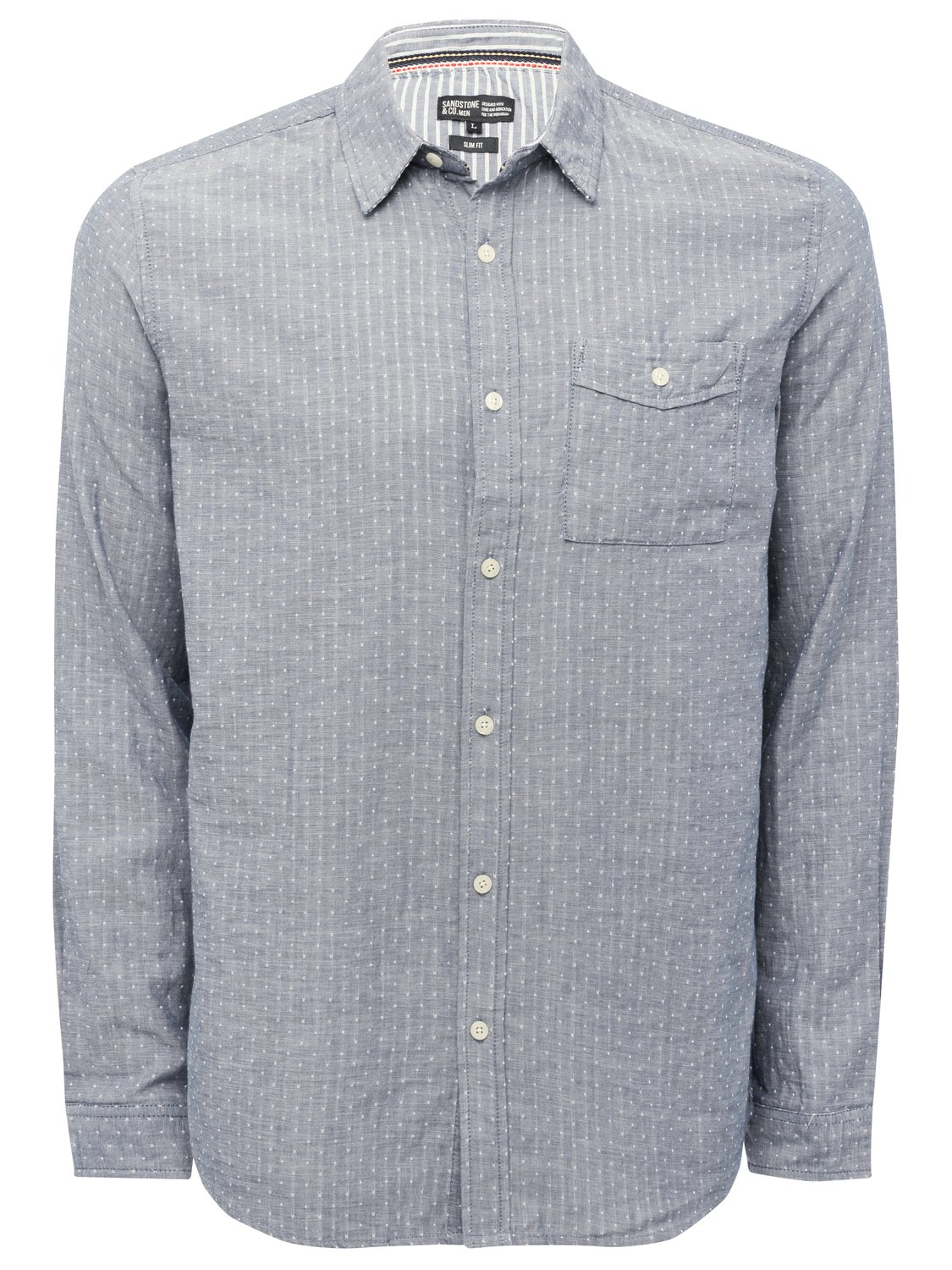 Image of Mens 100% Cotton Denim Chambray Spot Print Long Sleeve Chest Pocket Smart Casual Shirt - Denim