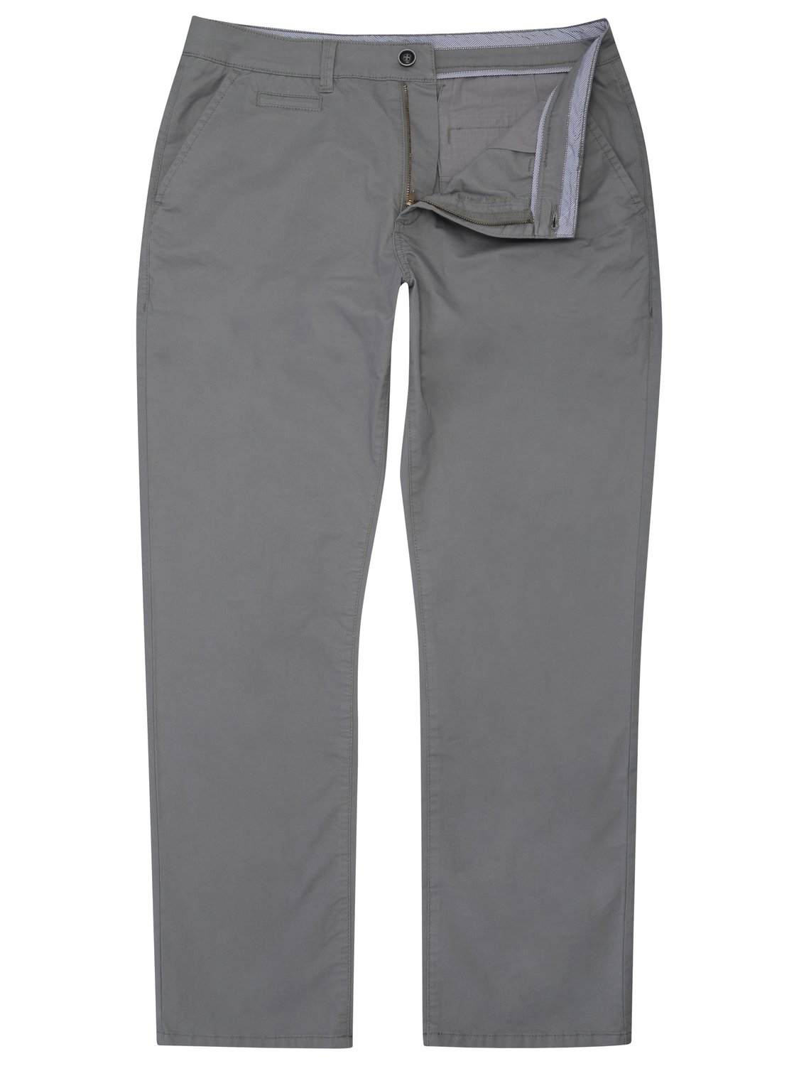 Image of Mens classic cotton straight leg flat front stretch casual chino trousers - Light Grey