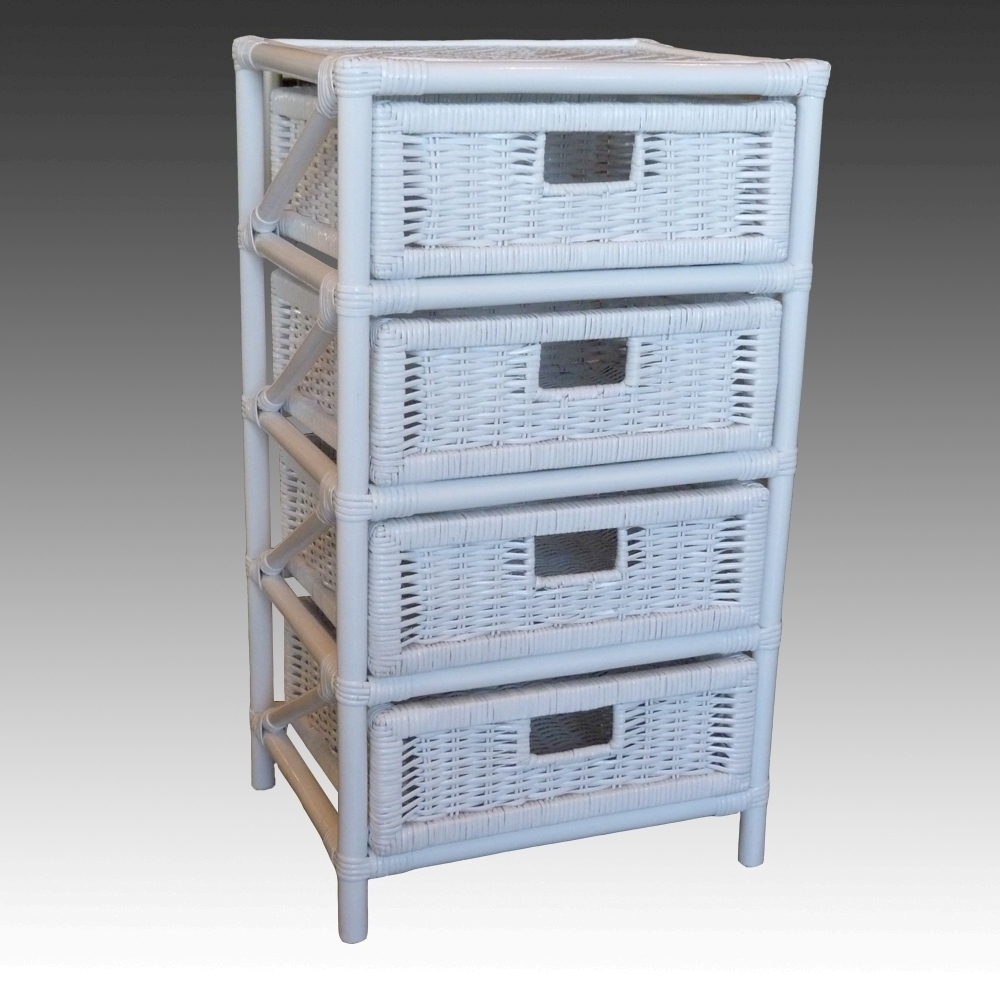 White Willow Woven Wicker Storage 1 3 And 4 Drawer Units