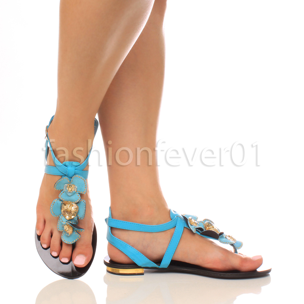 WOMENS LADIES FLAT LOW HEEL T-BAR GEM FLOWER BUCKLE STRAPPY SANDALS SIZE