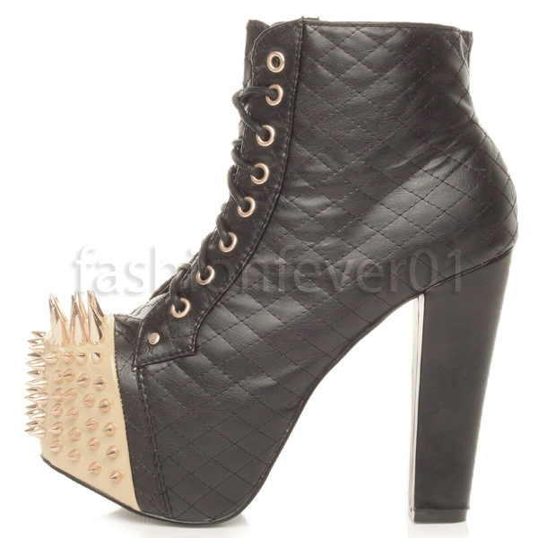 WOMENS LADIES HIGH CHUNKY HEEL PLATFORM SPIKED GOTH PUNK ANKLE BOOTS SIZE