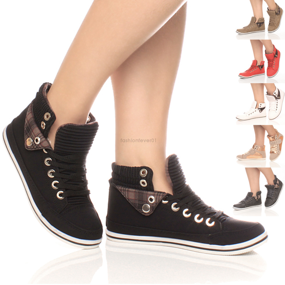 WOMENS-LADIES-GIRLS-FLAT-LACE-UP-HI-HIGH-TOP-PUMPS-TRAINERS-SHOES-BOOTS-SIZE