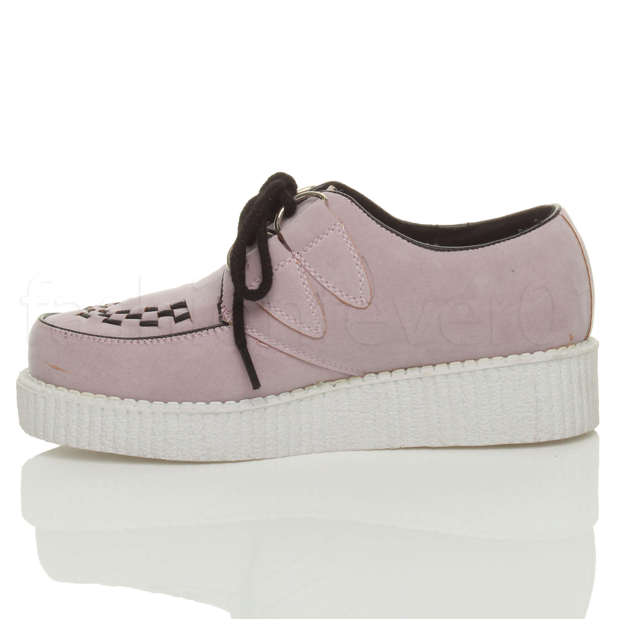 WOMENS-LADIES-FLAT-PLATFORM-FLATFORM-WEDGE-LACE-UP-PUNK-CREEPERS-SHOES-SIZE