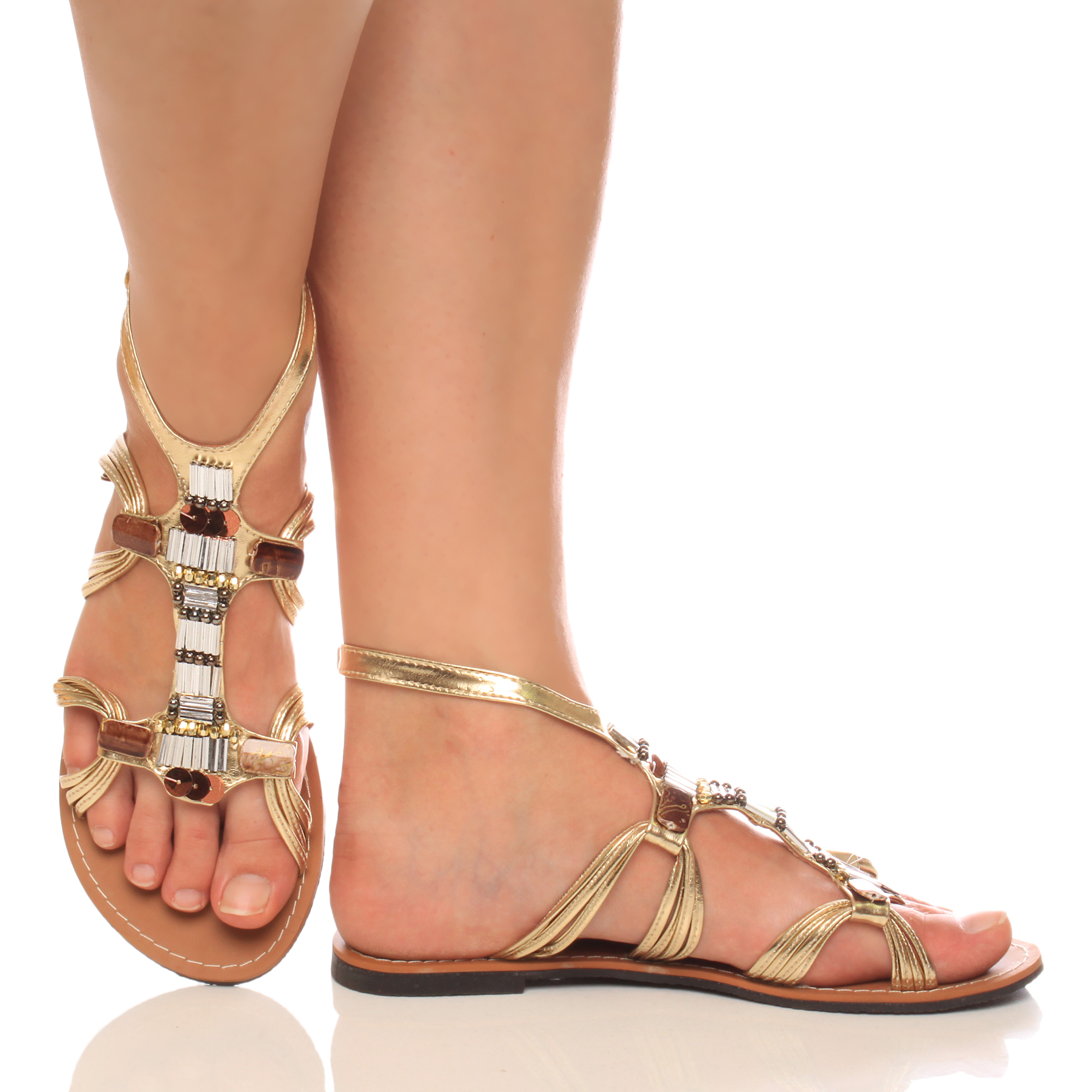 Womens Ladies Flat Ankle Strap Gladiator Beaded Strappy