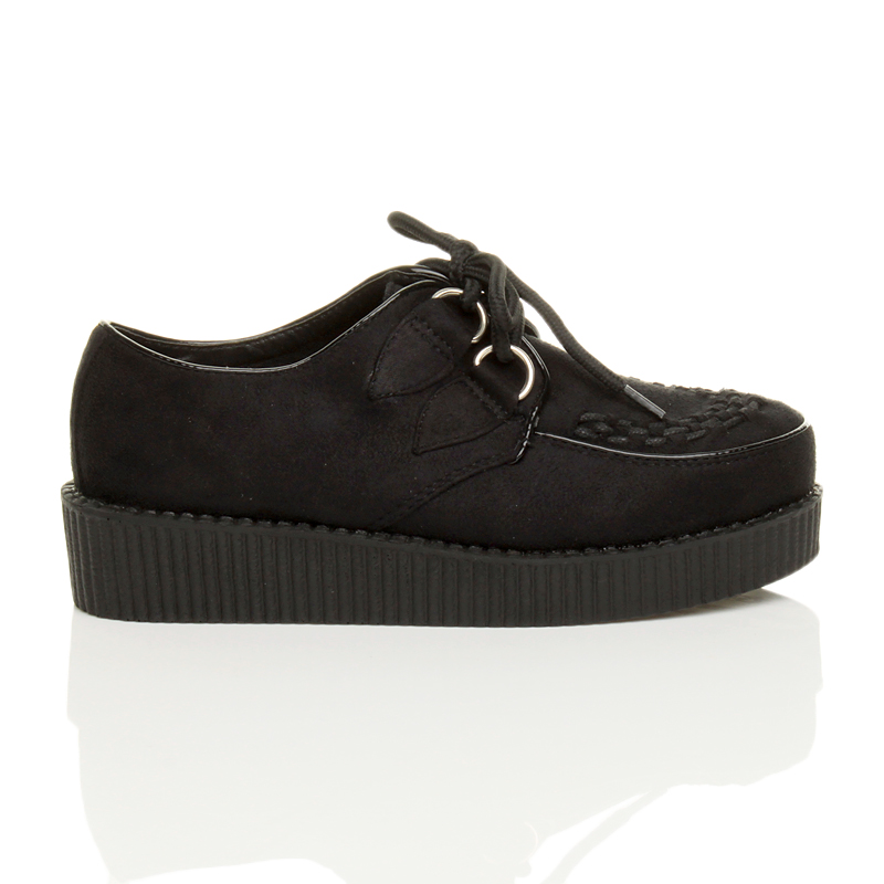 womens flat platform wedge lace up creepers