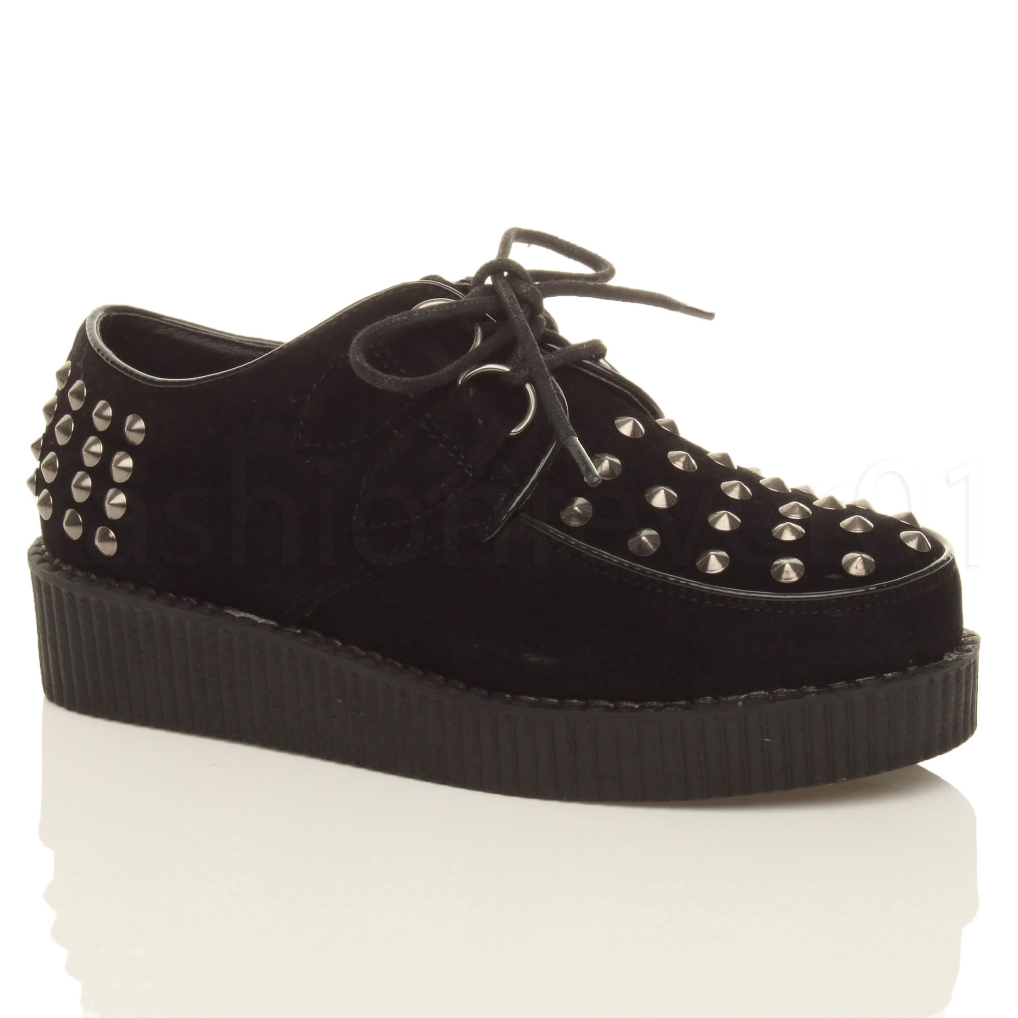 WOMENS-LADIES-FLAT-PLATFORM-FLATFORM-WEDGE-LACE-UP-PUNK-CREEPERS-SHOES-BOOT-SIZE