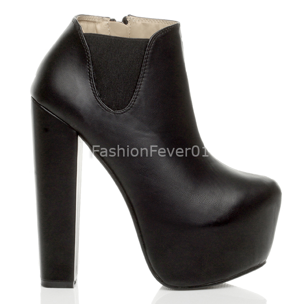 WOMENS LADIES BLOCK PLATFORM CHUNKY HIGH HEEL PULL ON CHELSEA RIDING ANKLE BOOTS