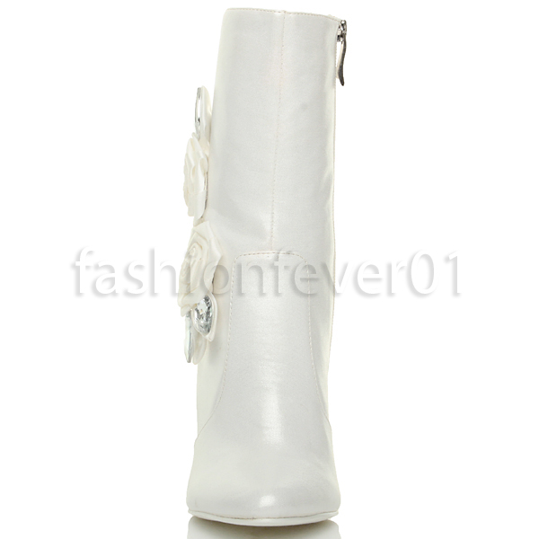 WOMENS LADIES HIGH HEEL POINTED ROSE GEM ZIP WEDDING ANKLE BOOTS SIZE