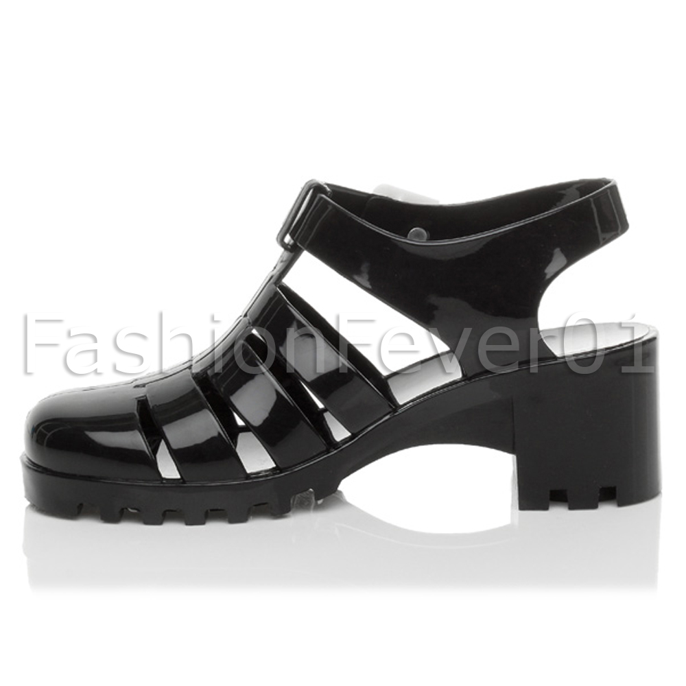 WOMENS LADIES BLOCK HEEL CHUNKY BUCKLE SUMMER JELLY STRAPPY SANDALS SHOES SIZE