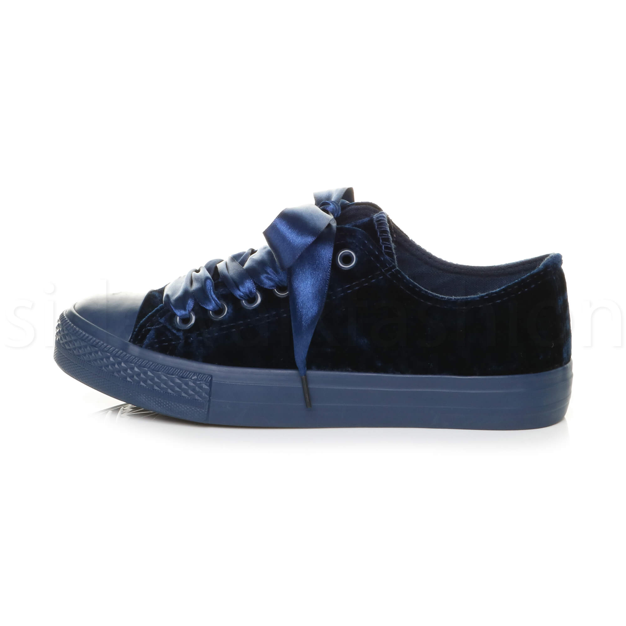 Womens ladies flat lace up ribbon velvet trainers plimsolls lo-top sneakers size