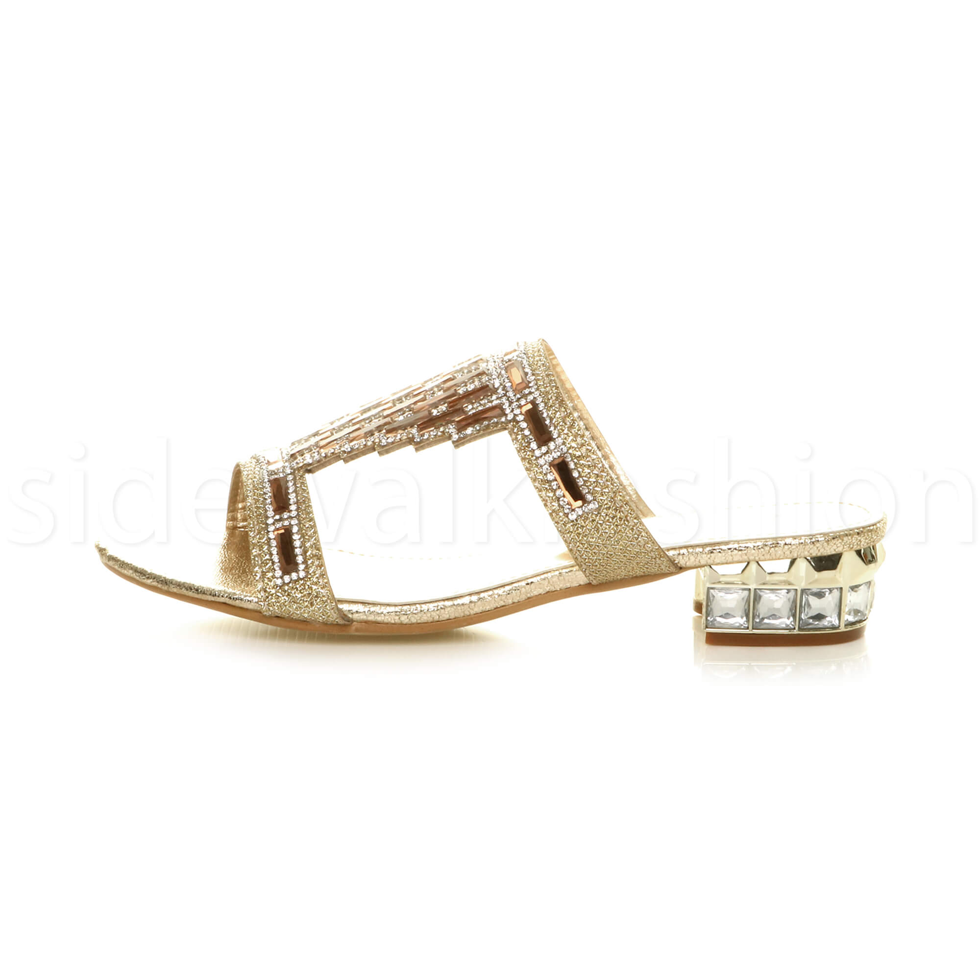 WOMENS LADIES LOW HEEL PARTY DIAMANTE SLIP ON STRAPPY MULES SANDALS SHOES SIZE