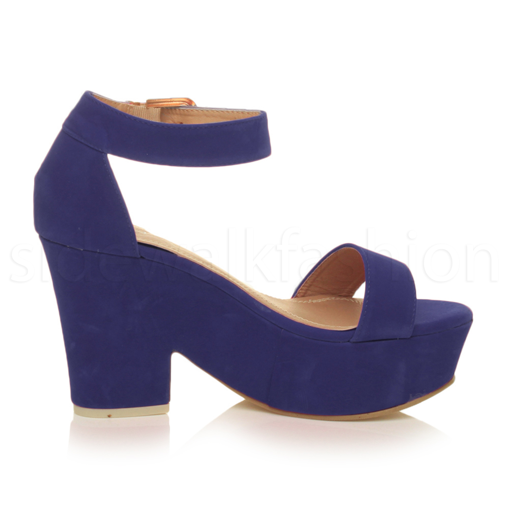 womens platform high block heel semi wedge peep toe