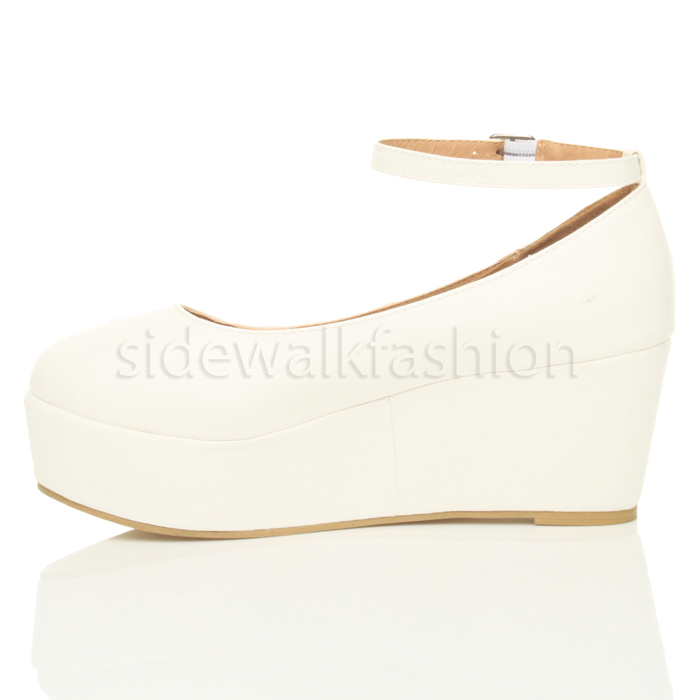 womens mid heel platform flatform toe ankle