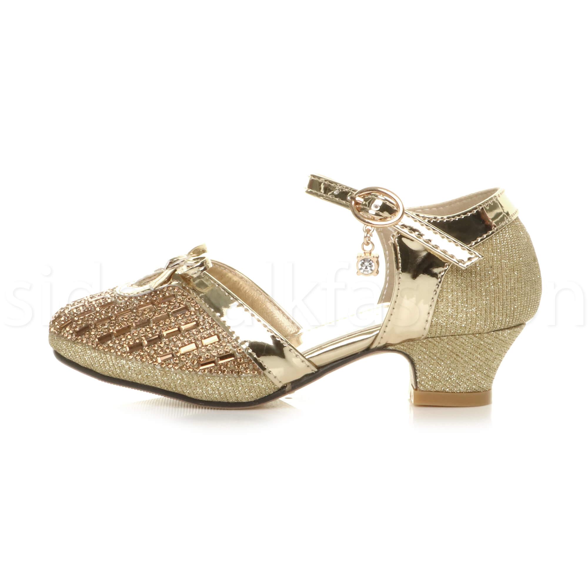 Girls kids childrens low heel bridesmaid princess sandals diamante court shoes