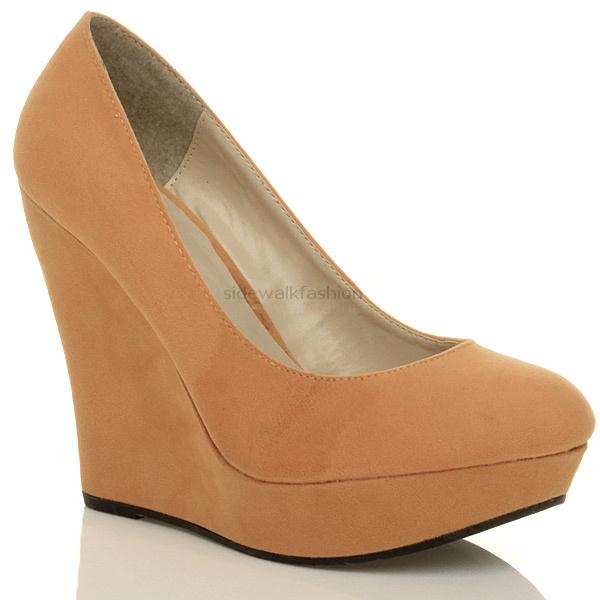 womens high heel wedge fulltoe platform court shoes