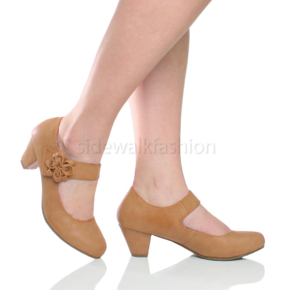 Womens ladies mid block heel padded comfort mary jane ...