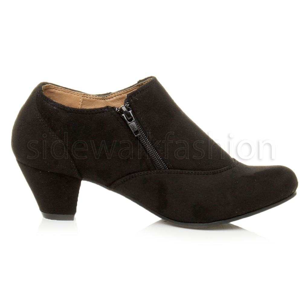 Womens ladies low mid heel buttons zip smart ankle shoe boots ...