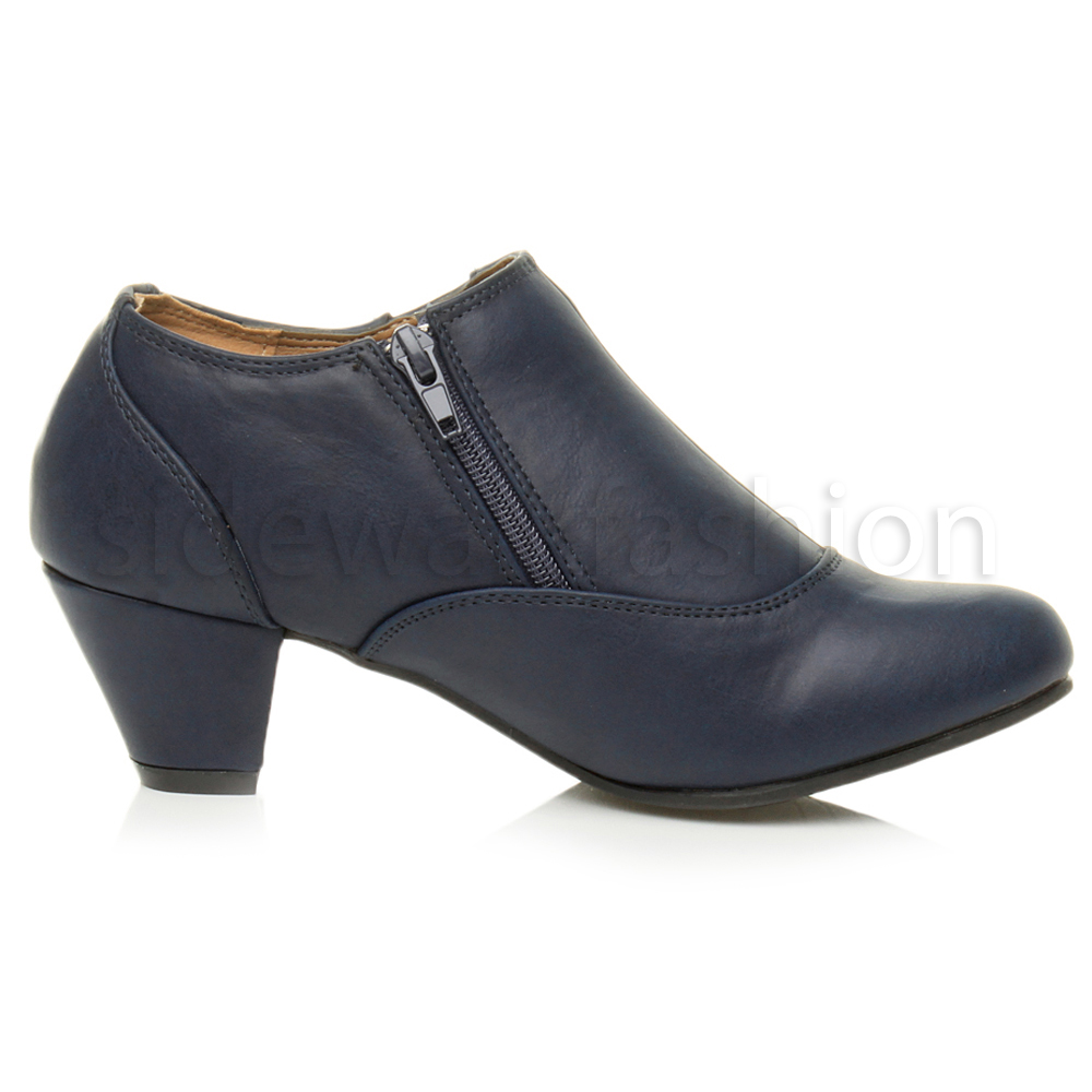 womens low mid heel buttons zip smart ankle shoe