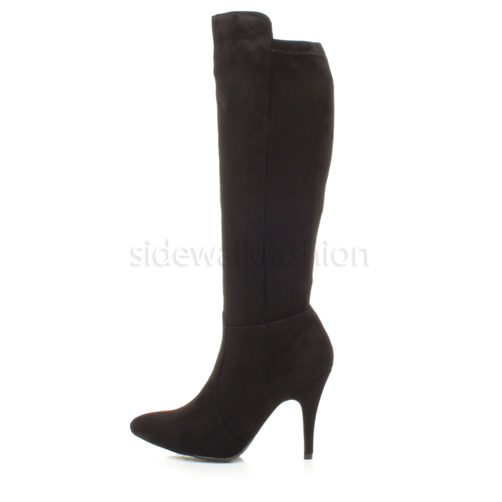 WOMENS LADIES HIGH HEEL POINTED STRETCH ZIP PARTY RIDING CALF KNEE BOOTS SIZE