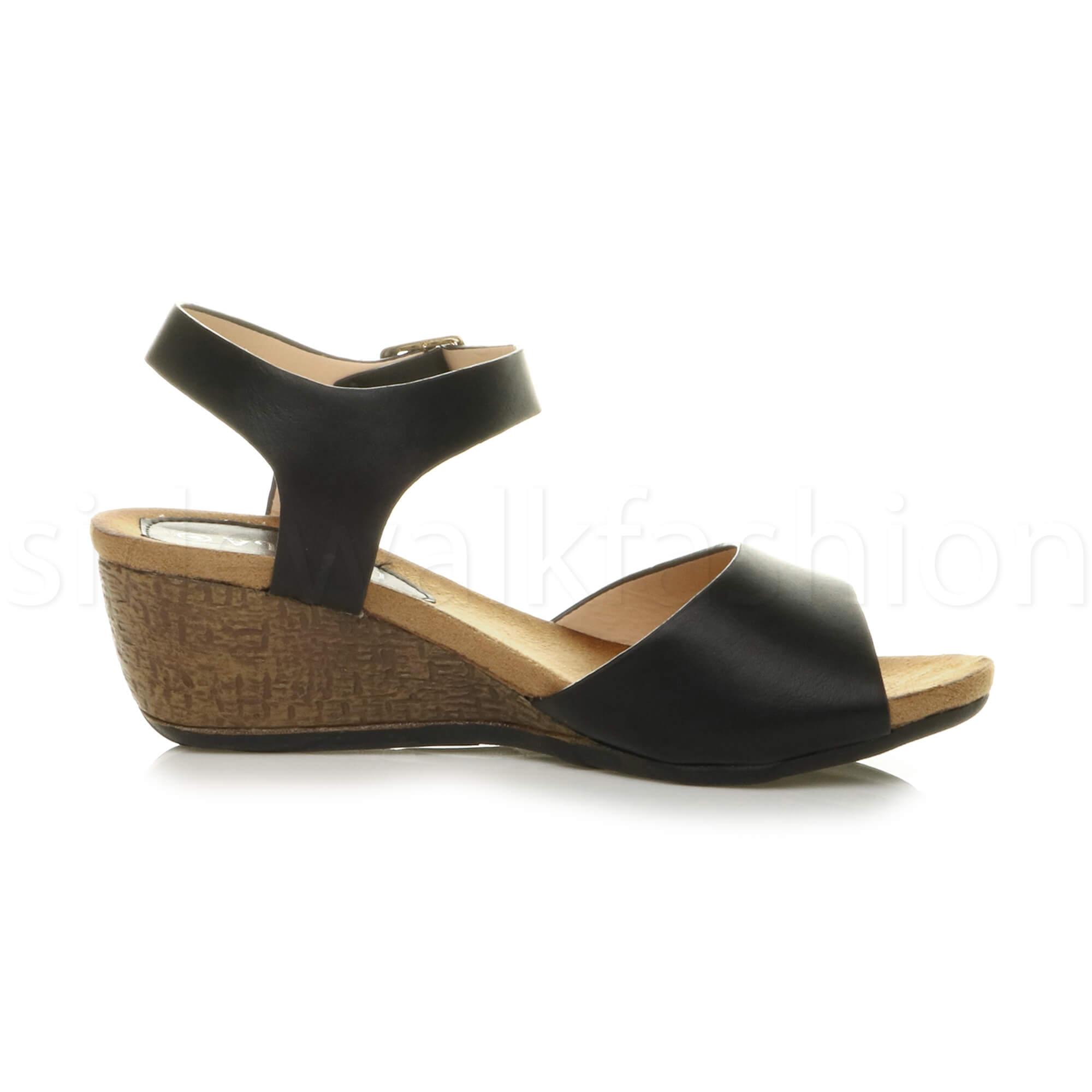 womens platform mid heel wedge work smart peep toe