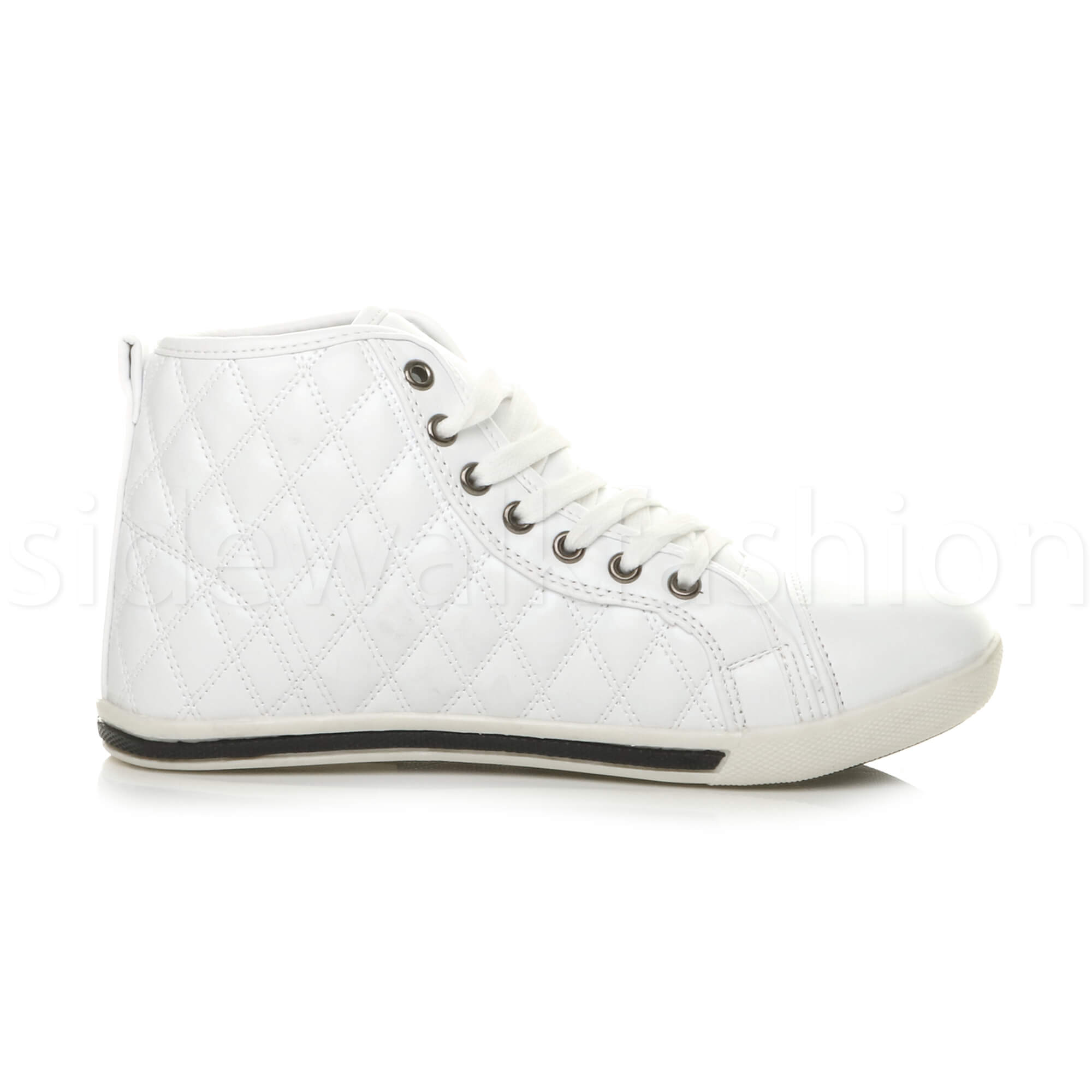 Womens ladies flat quilted high top trainers hi rise sneakers ankle boots size