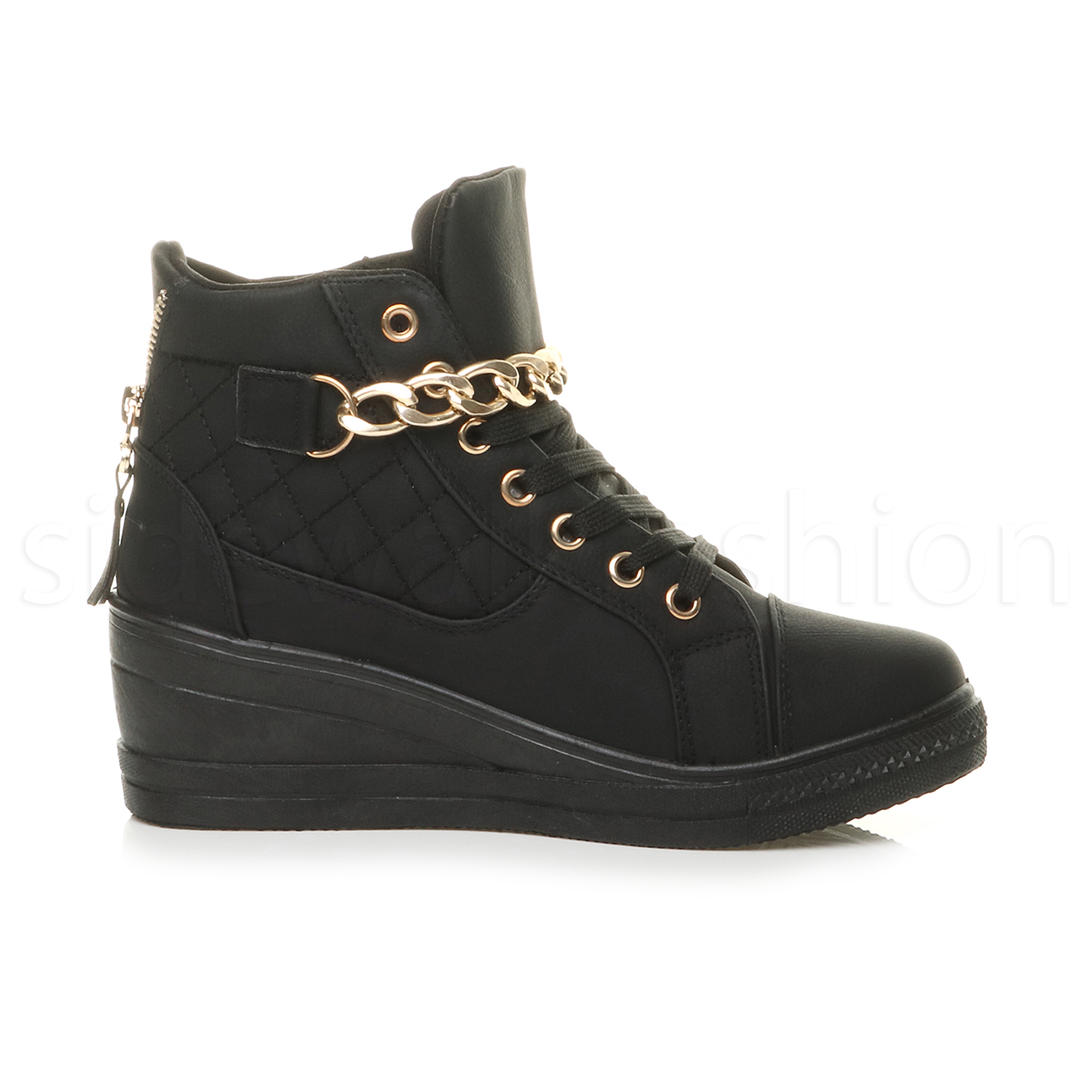 womens mid wedge heel buckle chain lace up platform