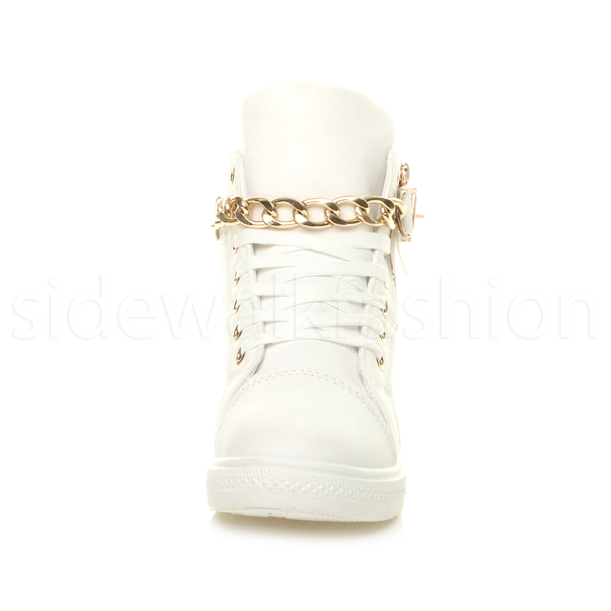 Womens ladies mid wedge heel gold chain platform hi-top trainers ankle boots