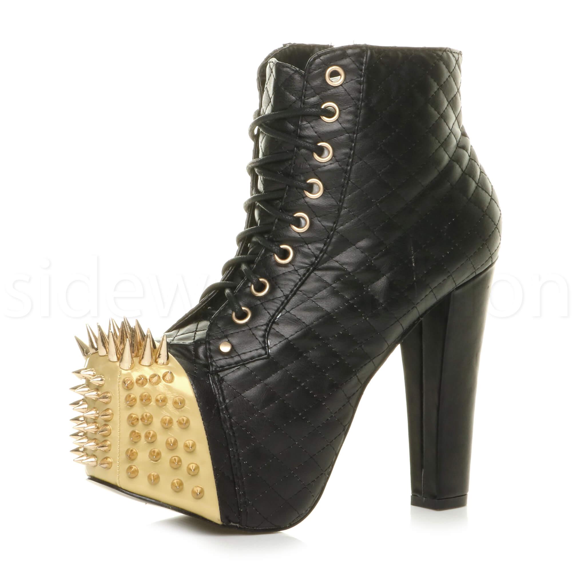 WOMENS-LADIES-HIGH-BLOCK-HEEL-ZIP-PLATFORM-LACE-UP-ANKLE-BOOTS-BOOTIES-SIZE
