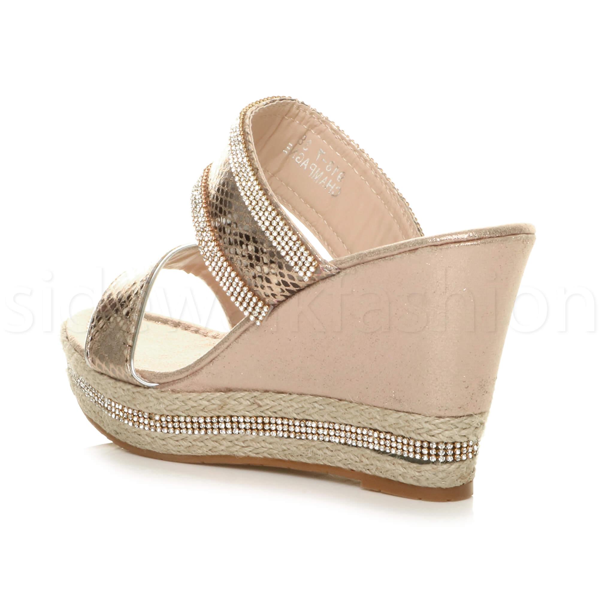 Womens ladies high heel wedge platform diamante summer slip on strappy sandals
