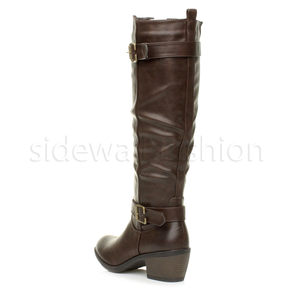 Womens ladies mid block heel zip buckle strap biker riding calf knee boots size