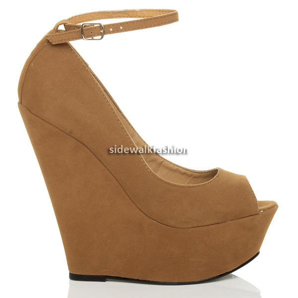 WOMENS-LADIES-HIGH-HEEL-PLATFORM-PEEP-TOE-ANKLE-STRAP-WEDGE-SHOES-SIZE