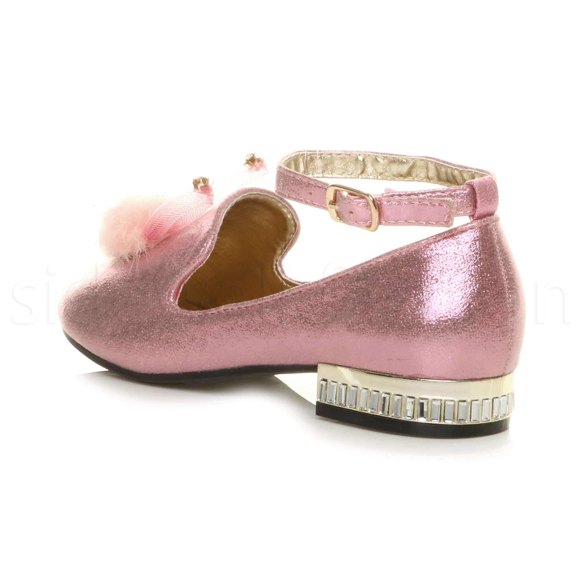 Girls childrens kids rabbit ears diamante pom pom loafers bridesmaid shoes size