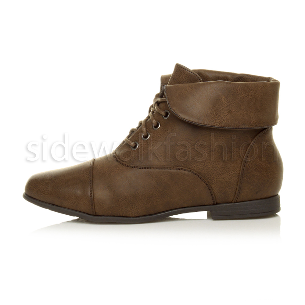 womens low heel flat lace up fold cuff vintage