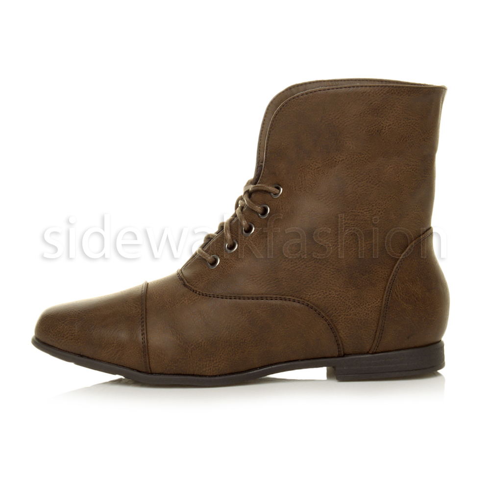 Fantastic Womens Ladies Combat Army Military Biker Flat Lace Up Worker Ankle Boots Shoes | EBay
