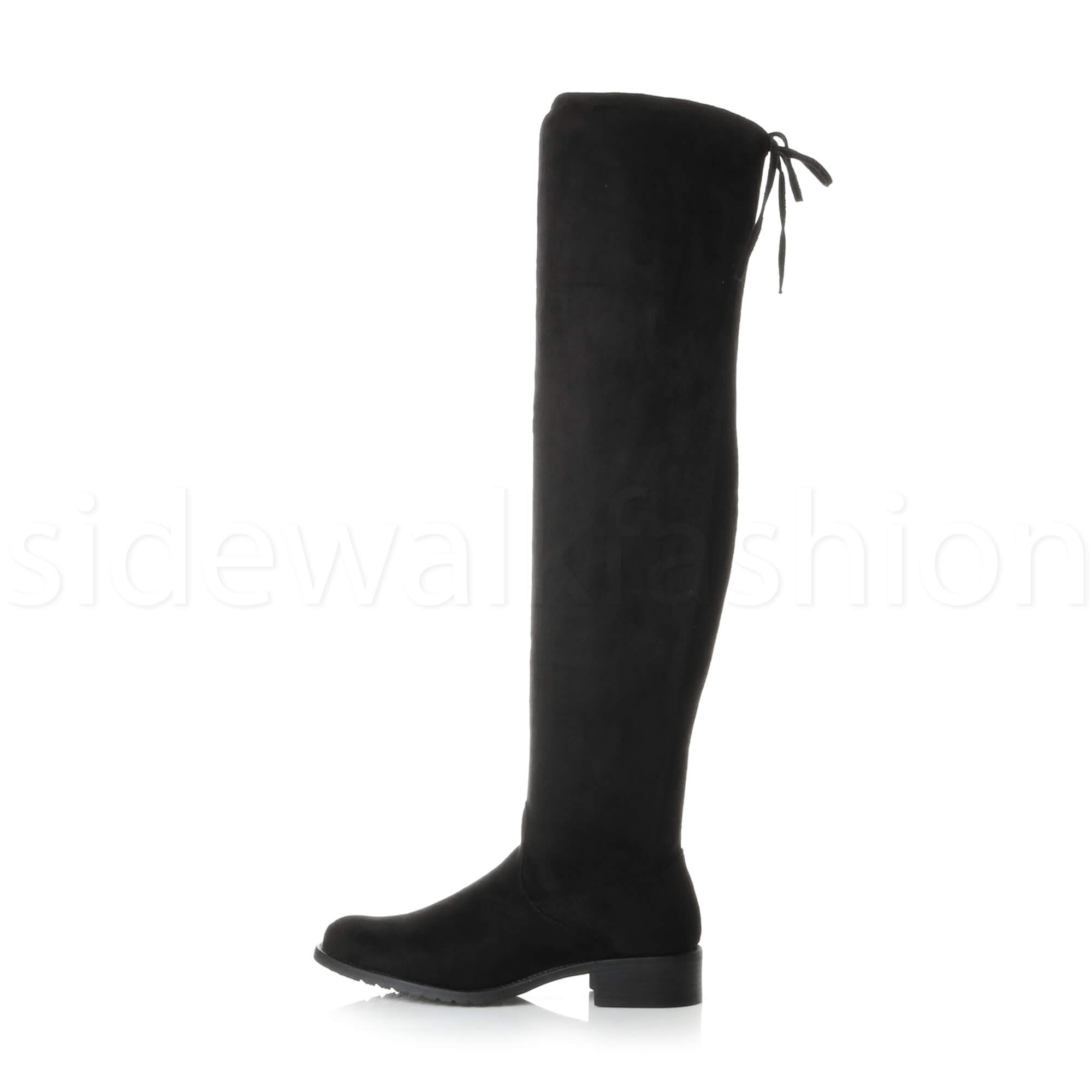 Womens ladies low heel high over the knee stretch riding boots size
