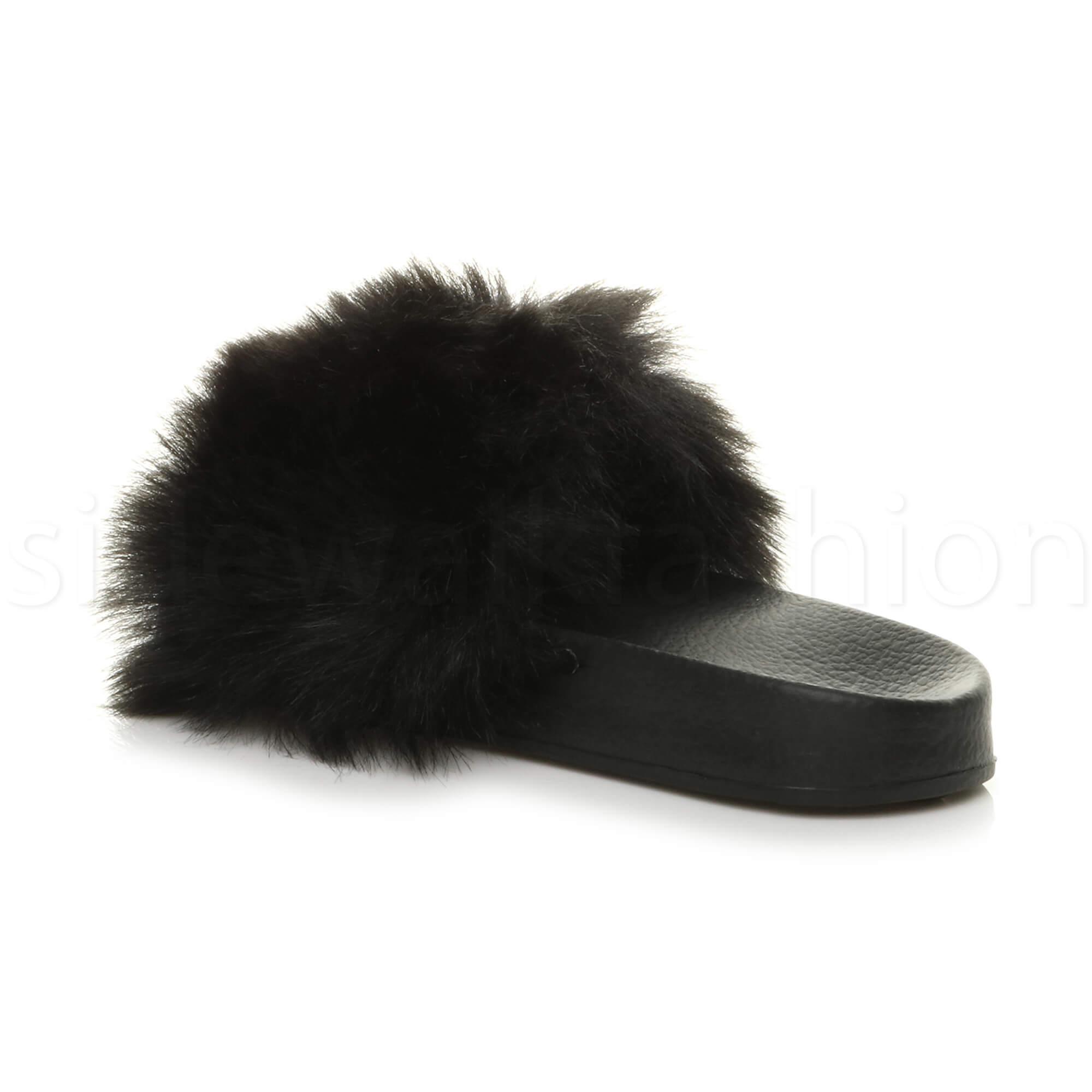 Womens ladies beaded flat casual slip on fur sliders flip flop sandals size