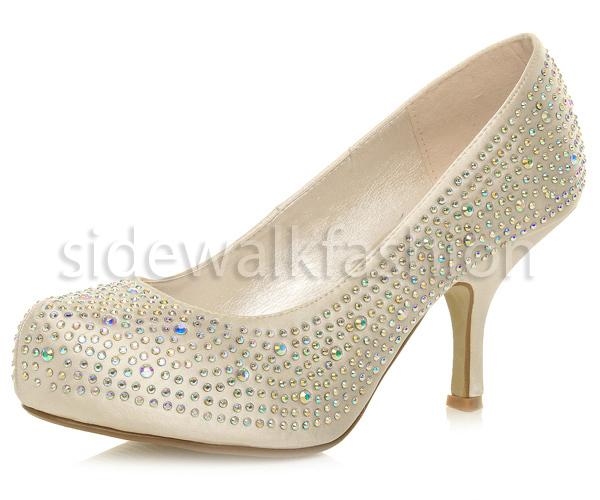 womens mid high kitten heel diamante wedding prom