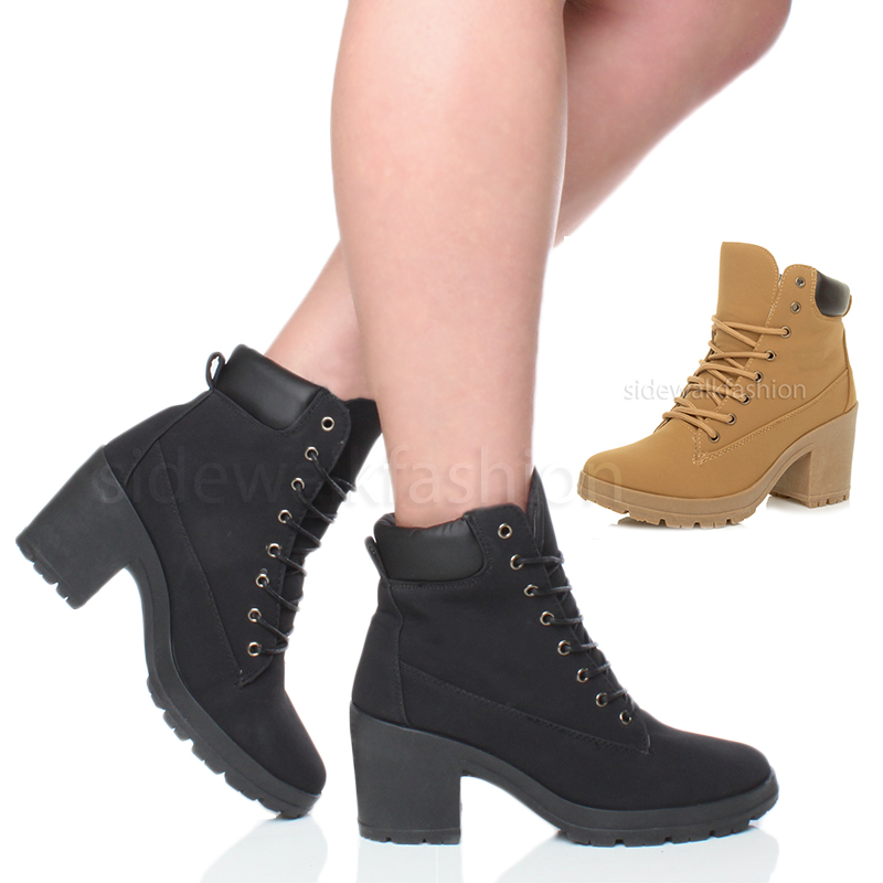 womens mid chunky heel lace up worker style ankle