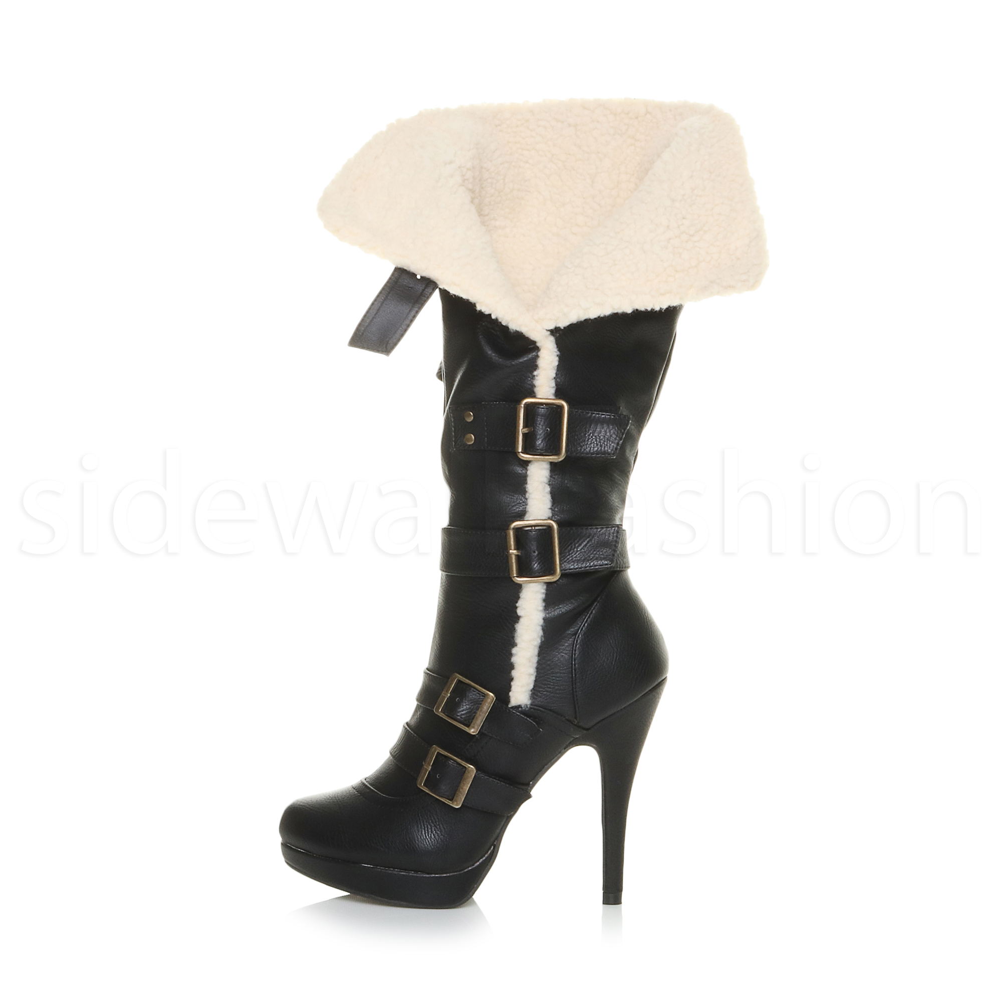 womens aviator shearling fur biker high heel