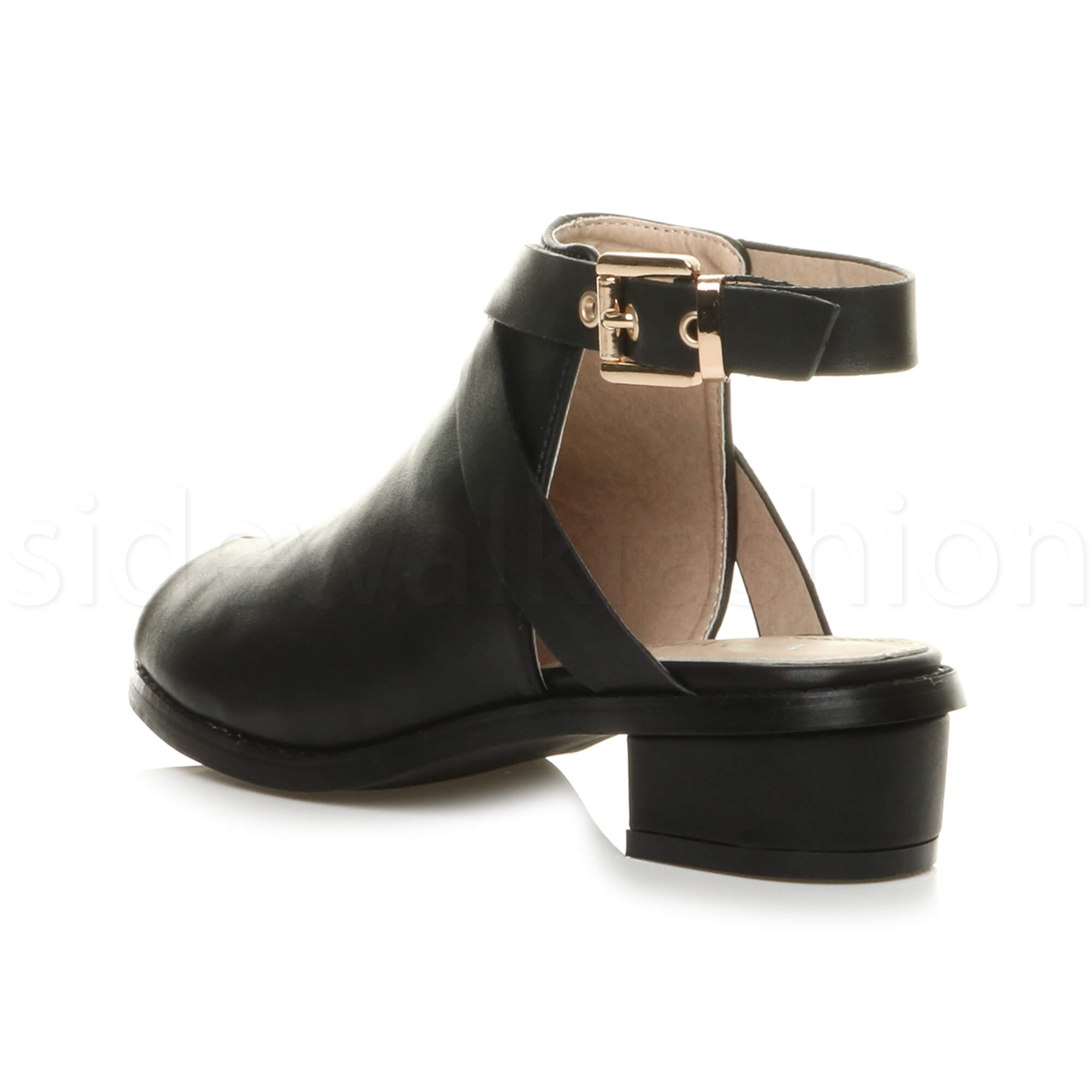 Womens ladies low mid heel strap open backless peep toe ...