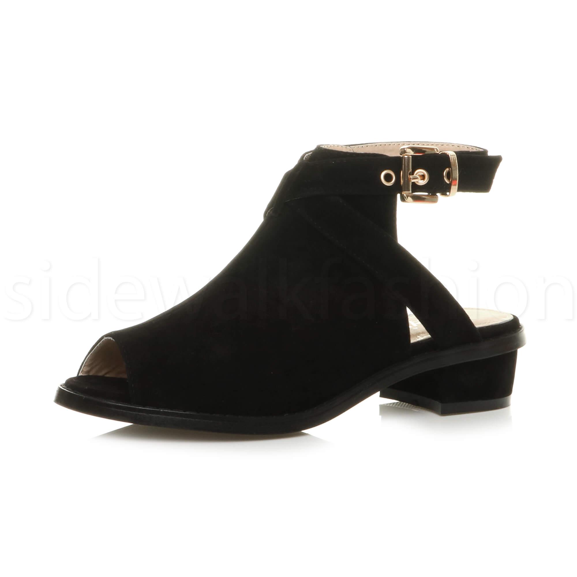 womens low mid heel open backless peep toe