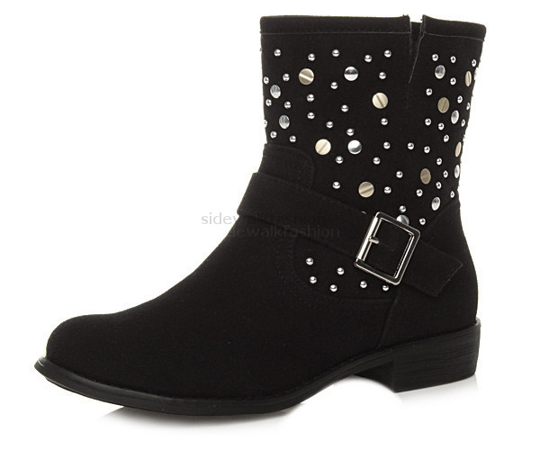WOMENS-LADIES-LOW-HEEL-PULL-ON-COWBOY-ANKLE-STUDDED-STUDS-BOOTS-BOOTIES-SIZE