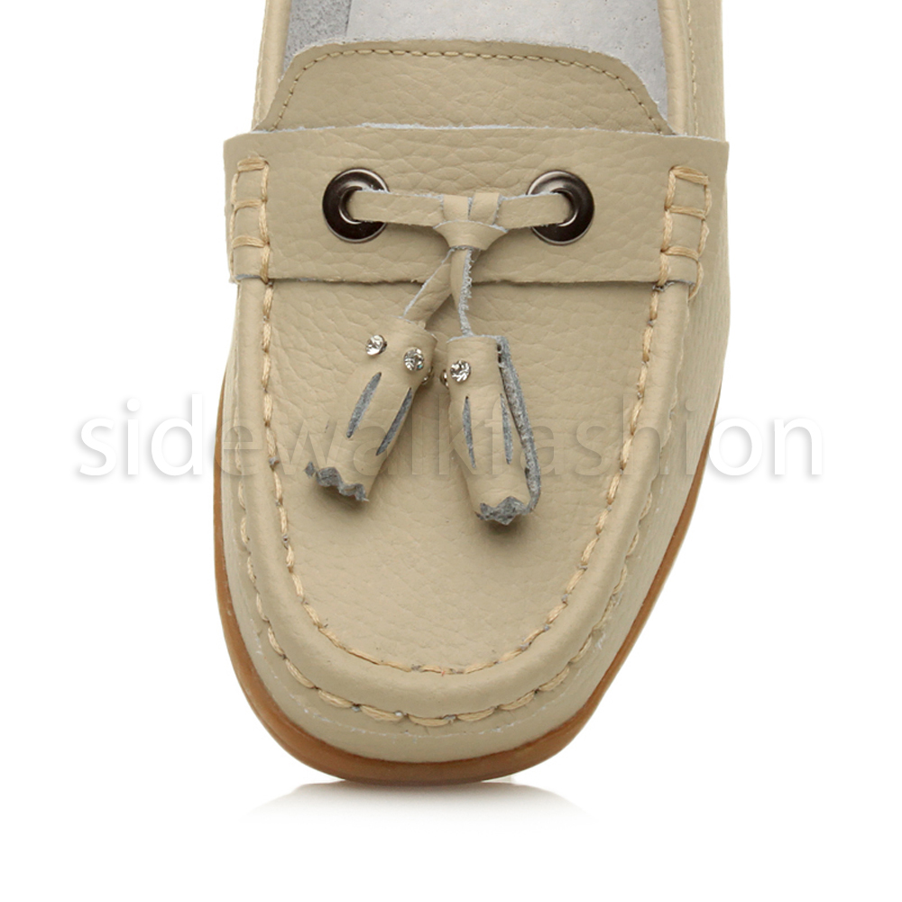 Womens ladies low heel moccasins leather tassel loafers comfort boat shoes size