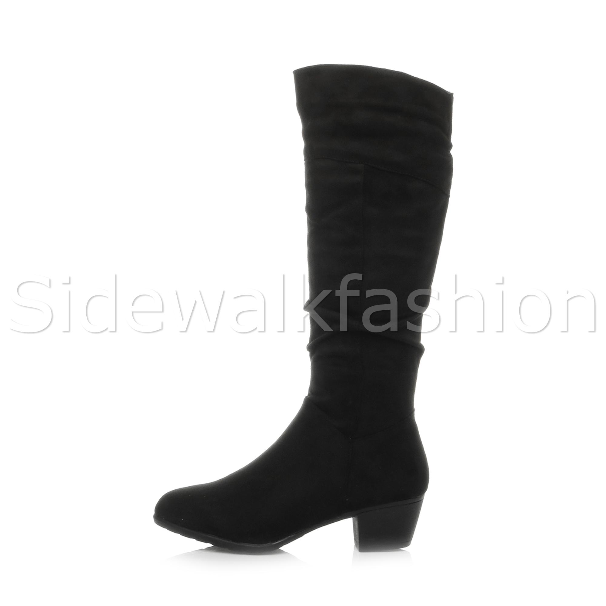 Womens ladies mid low block heel zip riding biker slim calf knee boots size