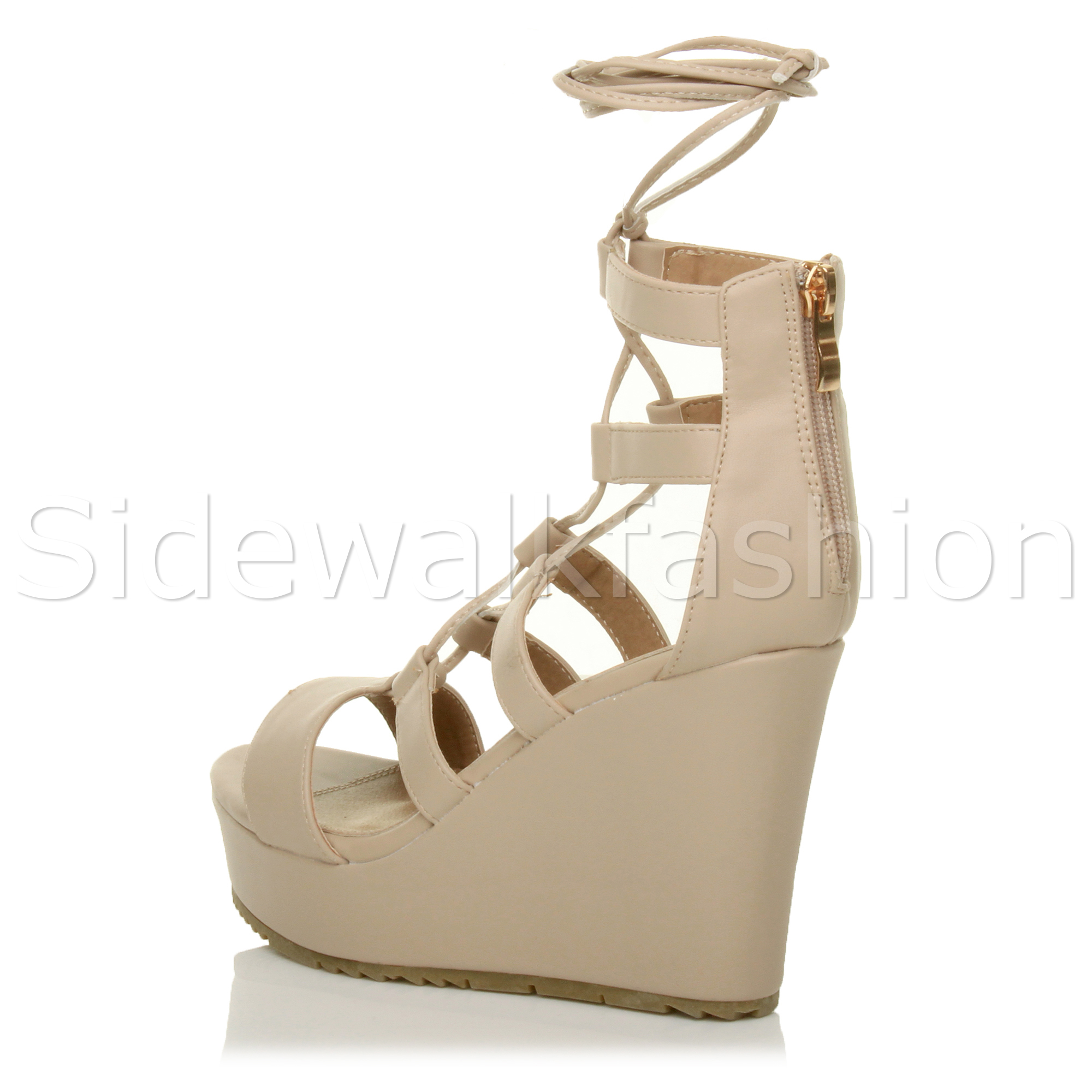 Chaussures Femme Escarpins Femme Plateforme Talon Haut Compensé Lacets Wrap Around Caged Sandales Taille