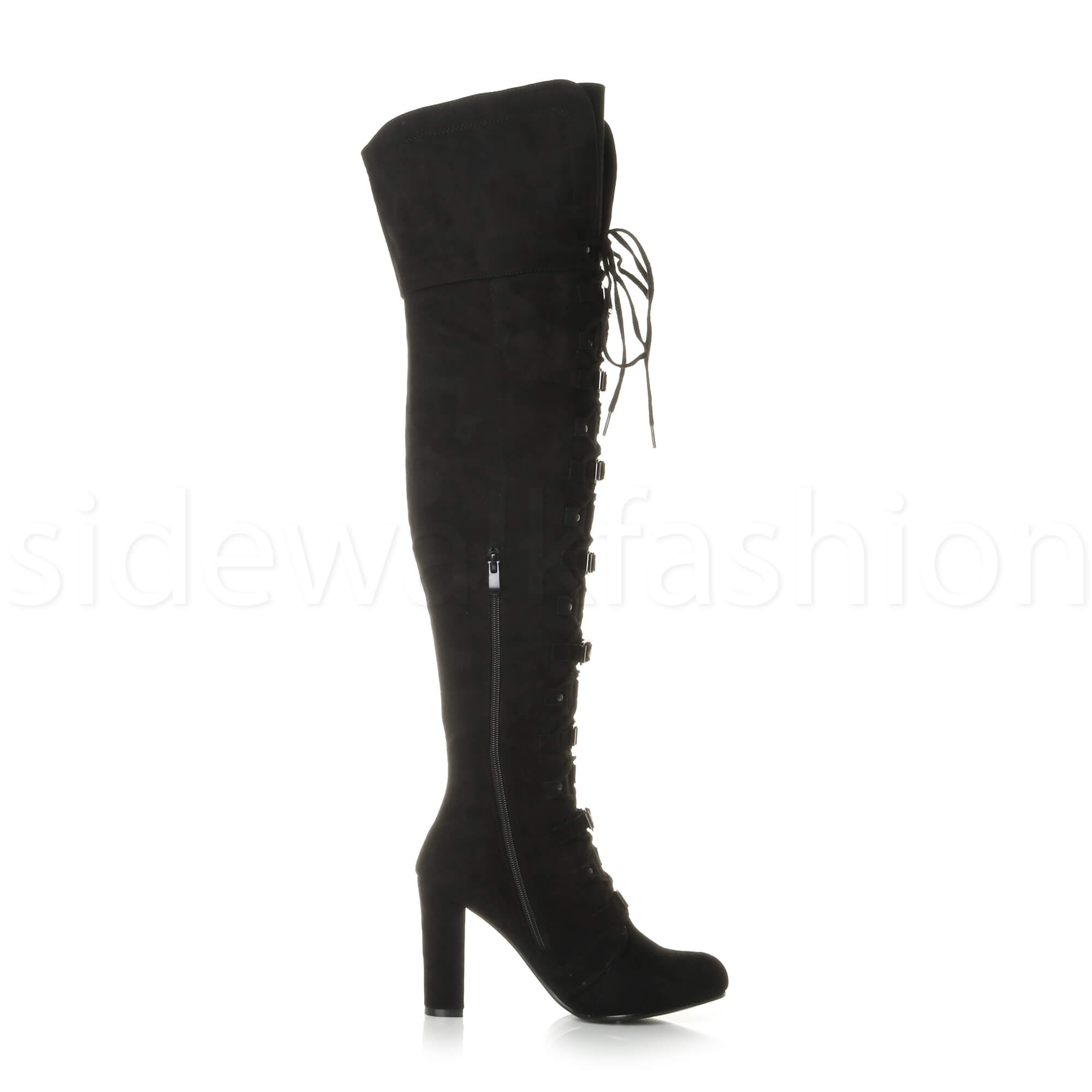 Womens ladies block heel lace up buckle over knee biker thigh high boots size