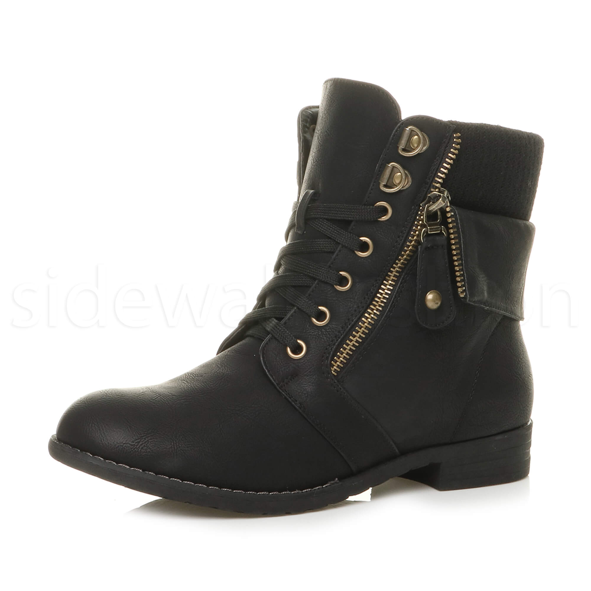 Unique Womens Combat Style Army Worker Military Ankle Boots Flat Punk Goth Shoes Size | EBay